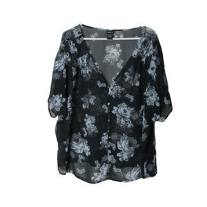 Torrid black and gray sheer floral blouse flowy
